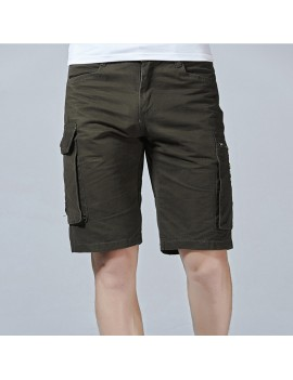 Mens Outdoor Loose Shorts Multi-pocket Solid Color Knee Length Sport Shorts