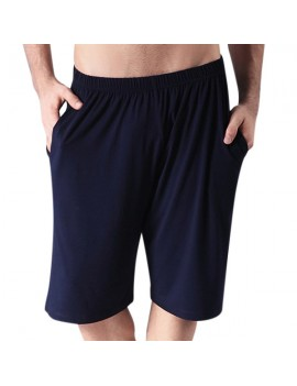 Mens Bamboo Fiber Solid Color Beach Casual Sports Shorts Modal Pajamas