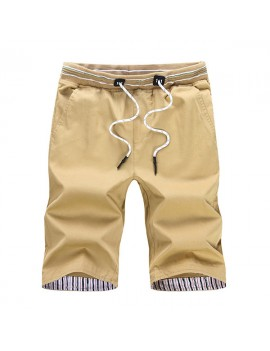 Mens Elastic Waist Cotton Thin Breathable Solid Color Knee Length Regular Fit Casual Beach Shorts