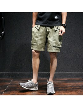 Mesn Outdoor Big Pocket Cargo Shorts Solid Color Casual Knee Length Cotton Shorts