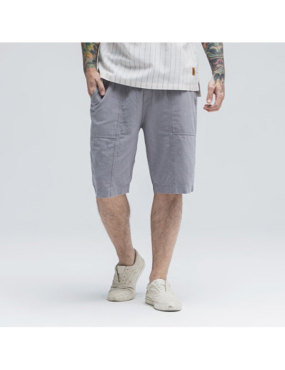 Mens Summer 100% Cotton Breathable Solid Color Knee Length Drawstring Casual Shorts
