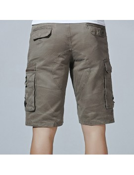 Mesn Outdoor Multi-pocket Cargo Shorts Solid Color Knee Length Casual Cotton Shorts