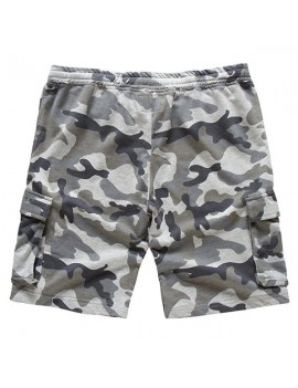Mens Summer Cotton Drawstring Camo Printed Knee Length Slim Fit Casual Shorts